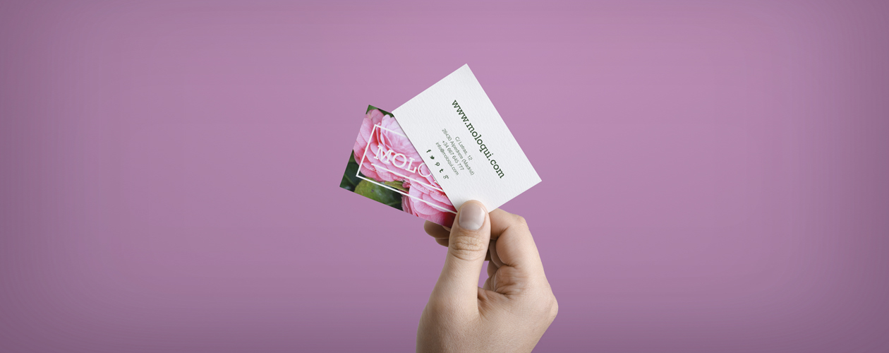 Moloqui tarjetas de visita Mela Lozano diseño